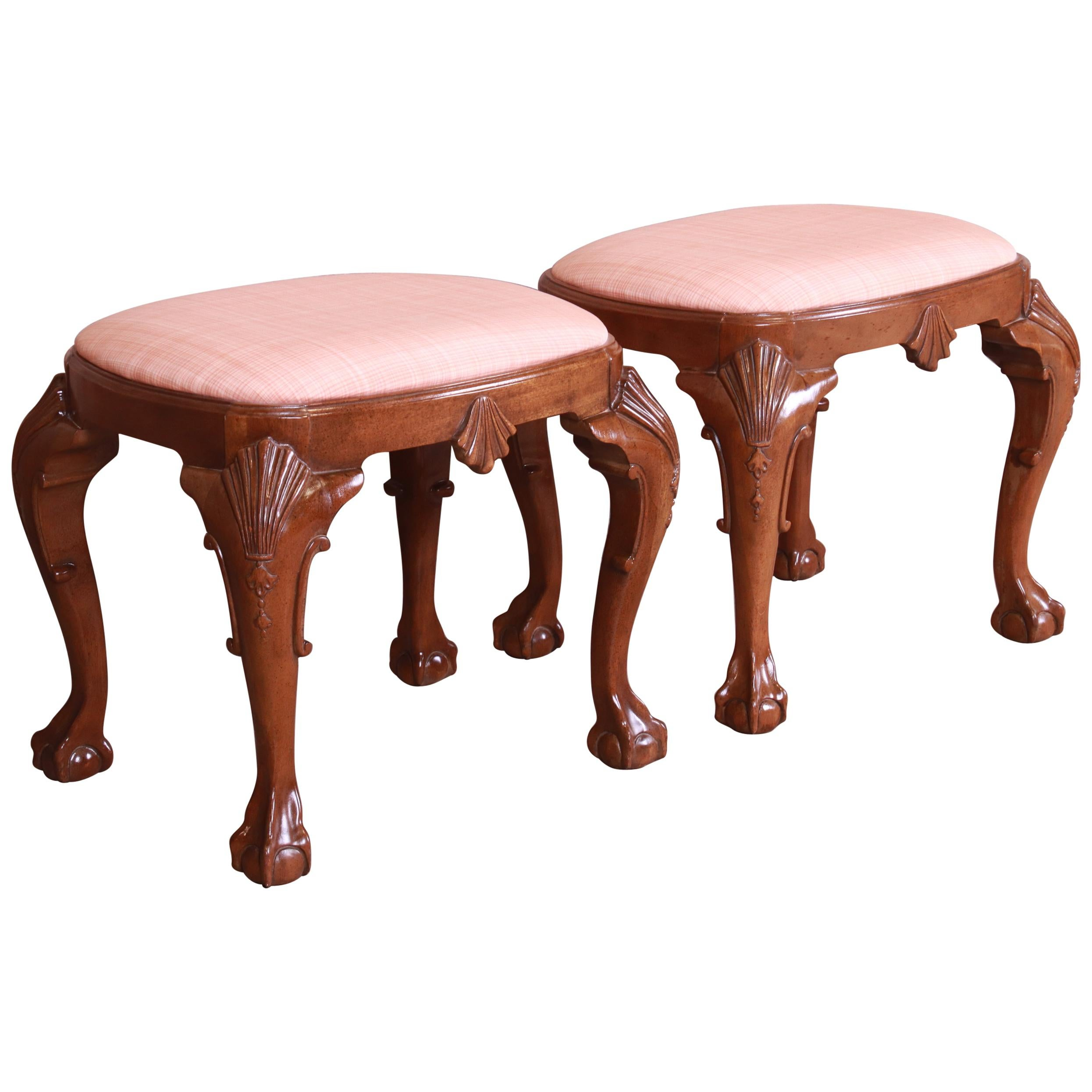 Baker Furniture Historic Charleston Chippendale Carved Mahogany Stools, Pair