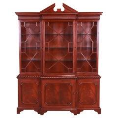 Baker Furniture Historic Charleston Flame Mahogany Breakfront Bookcase Cabinet