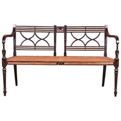 Baker Furniture Historic Charleston Hand Painted Cane Seat Bench or Settee
