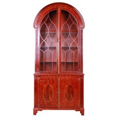 Baker Furniture Historic Charleston Inlaid Mahogany Arched Top Bookcase Cabinet