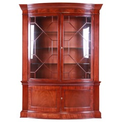 Baker Furniture Historic Charleston Mahogany Breakfront Bookcase or Bar Cabinet