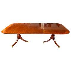 Baker Furniture Historic Charleston Mahogany Double Pedestal Dining Table