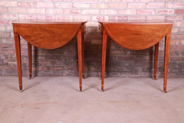 Baker Furniture Historic Charleston Mahogany Pembroke Tea Tables, Pair For Sale 6