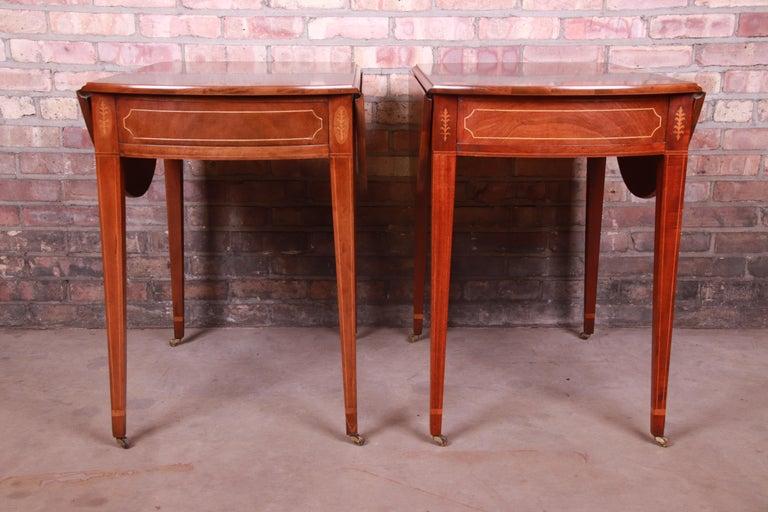 Baker Furniture Historic Charleston Mahogany Pembroke Tea Tables, Pair For Sale 7