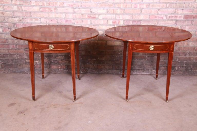 Baker Furniture Historic Charleston Mahogany Pembroke Tea Tables, Pair For Sale 8