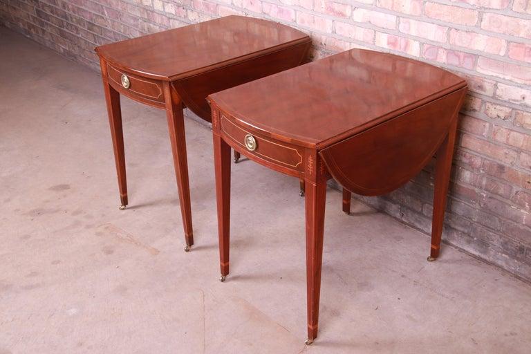Sheraton Baker Furniture Historic Charleston Mahogany Pembroke Tea Tables, Pair For Sale