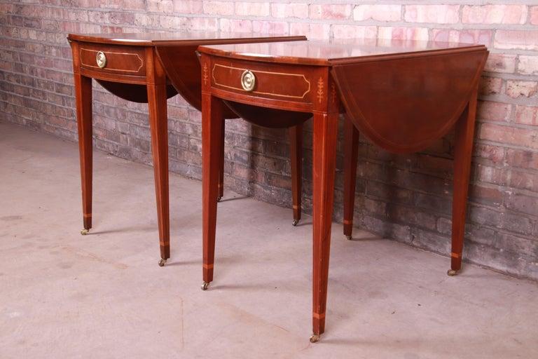 American Baker Furniture Historic Charleston Mahogany Pembroke Tea Tables, Pair For Sale