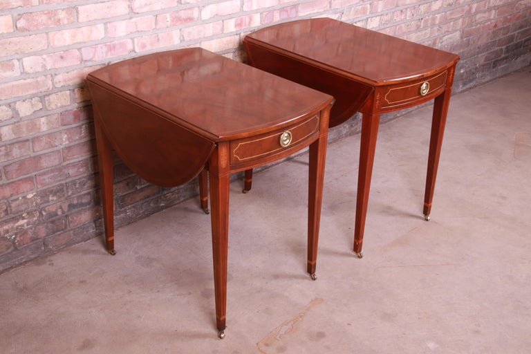 Baker Furniture Historic Charleston Mahogany Pembroke Tea Tables, Pair In Good Condition For Sale In South Bend, IN