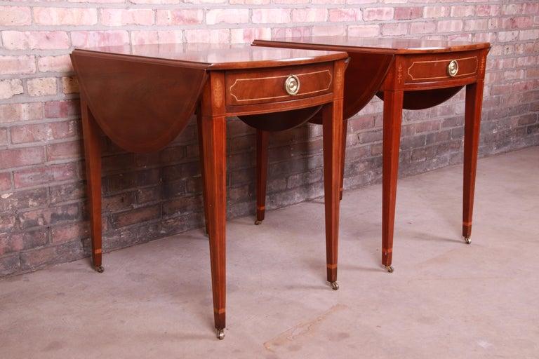Late 20th Century Baker Furniture Historic Charleston Mahogany Pembroke Tea Tables, Pair For Sale
