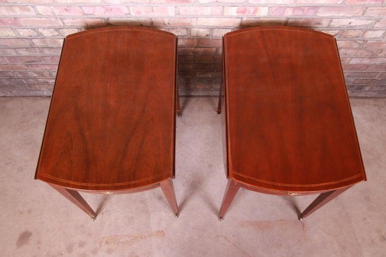Brass Baker Furniture Historic Charleston Mahogany Pembroke Tea Tables, Pair For Sale