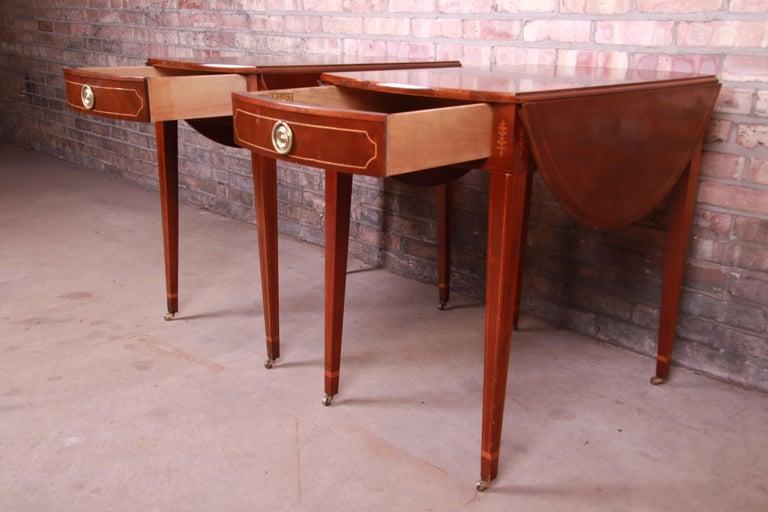 Baker Furniture Historic Charleston Mahogany Pembroke Tea Tables, Pair For Sale 1
