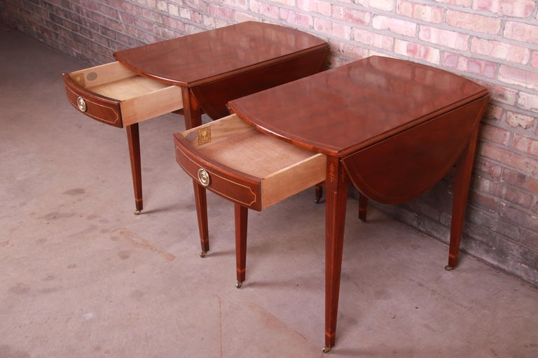 Baker Furniture Historic Charleston Mahogany Pembroke Tea Tables, Pair For Sale 2