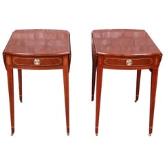 Baker Furniture Historic Charleston Mahogany Pembroke Tea Tables, Pair