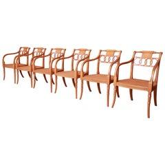 Baker Furniture Historic Charleston Regency Dining Armchairs, Set of Six