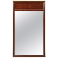Baker Furniture Hollywood Regency Campaign Burl Wood and Brass Framed Mirror