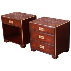 Baker Furniture Hollywood Regency Campaign Mahogany and Brass Nightstands, Pair