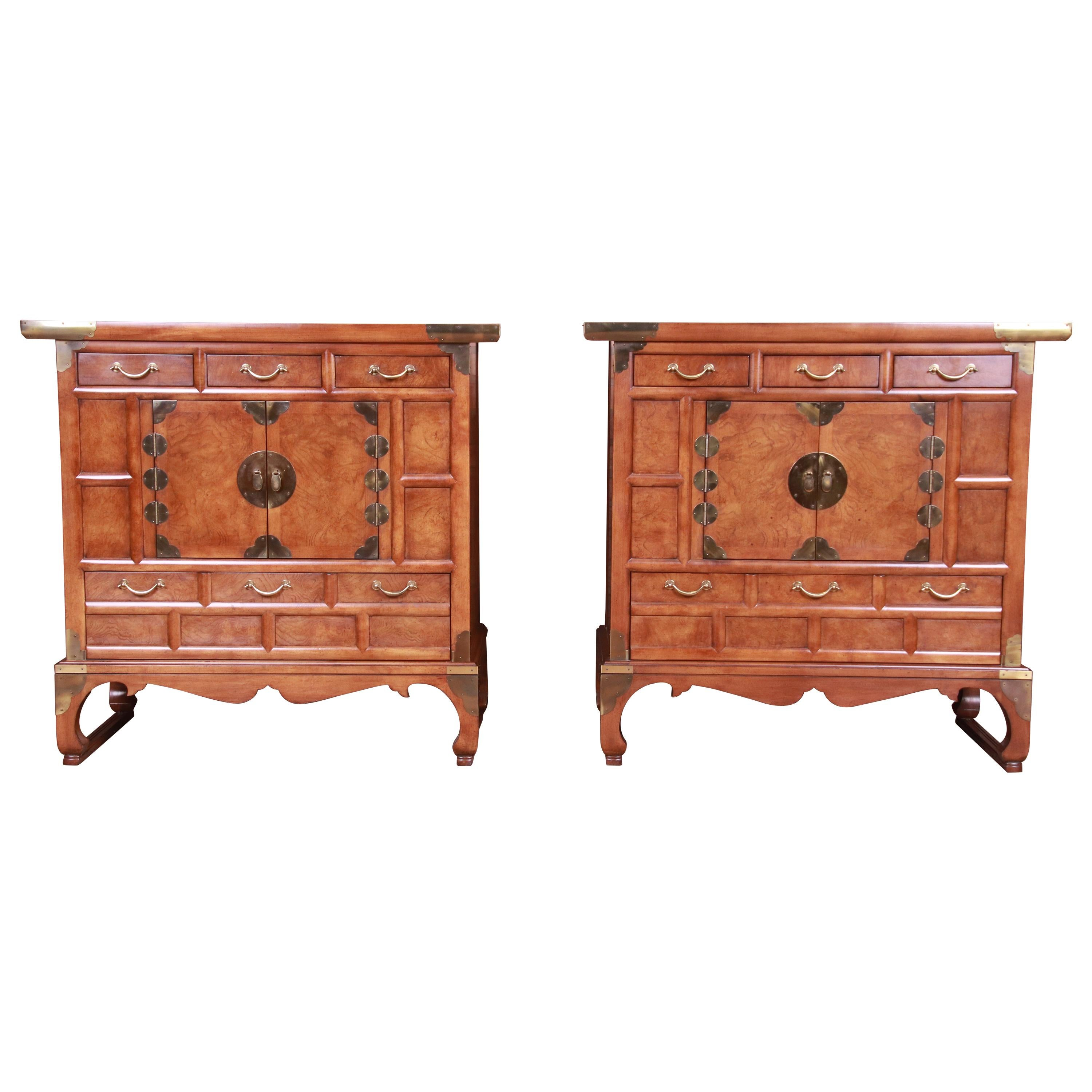 Baker Furniture Hollywood Regency Chinoiserie Burled Walnut Bar Cabinets, Pair