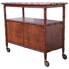 Baker Furniture Hollywood Regency Chinoiserie Faux Bamboo Bar Cart