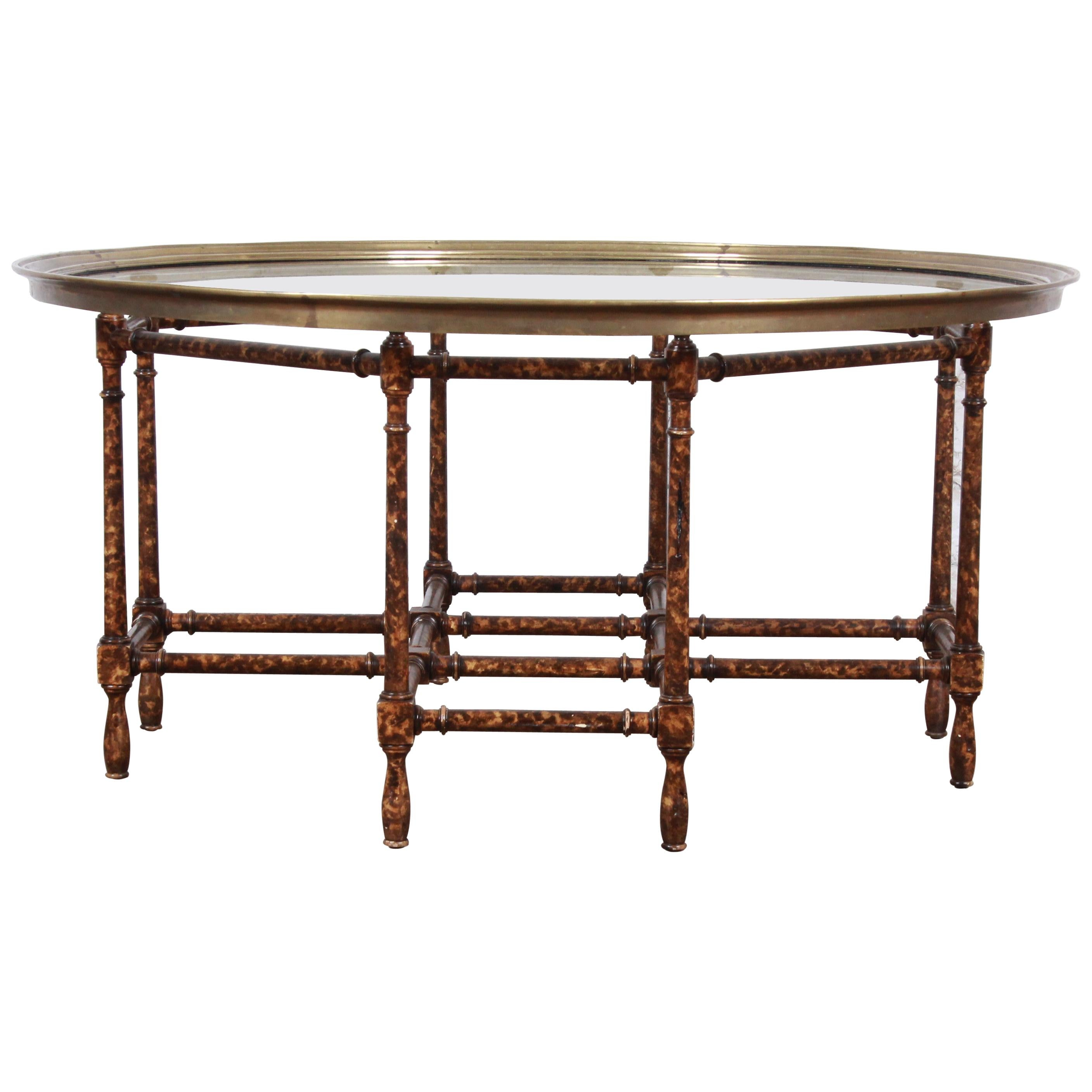 Baker Furniture Hollywood Regency Chinoiserie Faux Bamboo Cocktail Table
