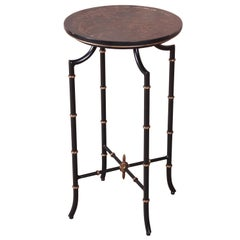 Baker Furniture Hollywood Regency Chinoiserie Faux Bamboo Side Table or Pedestal