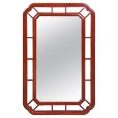 Baker Furniture Hollywood Regency Chinoiserie Mahogany Framed Wall Mirror