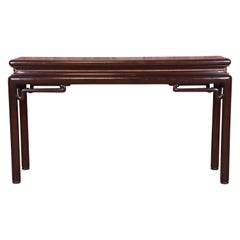 Baker Furniture Hollywood Regency Chinoiserie Walnut Console Table, Circa 1970s