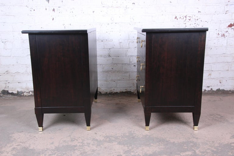 Baker Furniture Hollywood Regency Ebonized Nightstands or Bachelor Chests, Pair For Sale 5