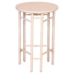 Baker Furniture Hollywood Regency Faux Bamboo Cream Lacquered Side Table, 1960s