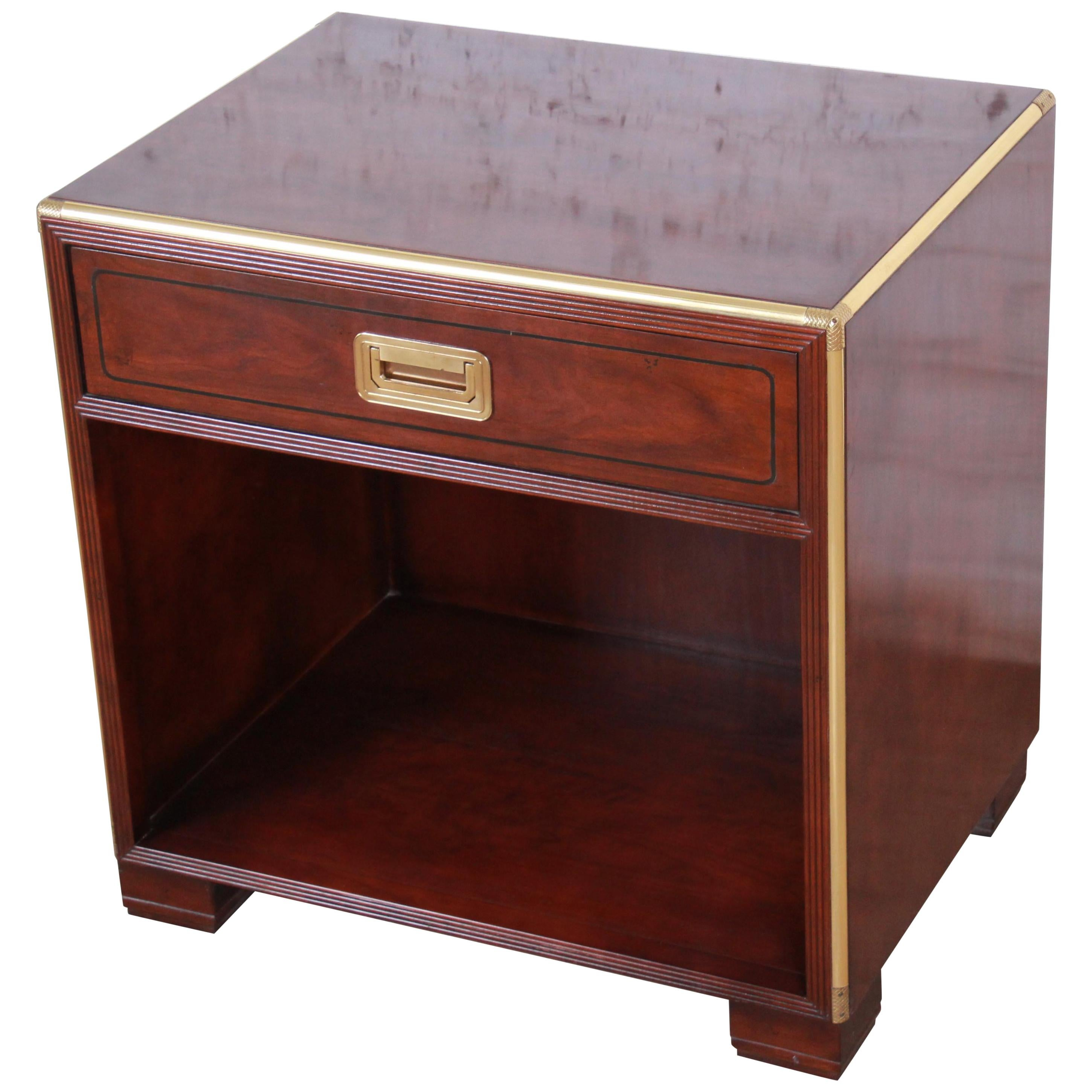 Baker Furniture Hollywood Regency Fruitwood and Brass Campaign Style Nightstand