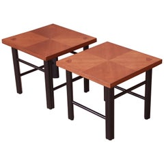 Baker Furniture Hollywood Regency Walnut and Black Lacquer End Tables, 1960s