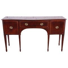 Baker Furniture Inlaid Mahogany Bow Front Hepplewhite Sideboard Credenza