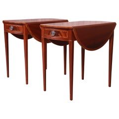 Baker Furniture Inlaid Mahogany Pembroke Tea Tables, Newly Restored