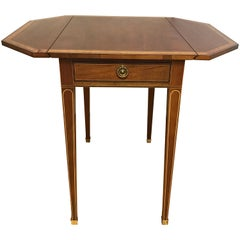 Baker Furniture Inlay Mahogany Drop Leaf End Table
