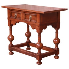 Baker Furniture Jacobean Walnut Side Table or Entry Table, Newly Refinished