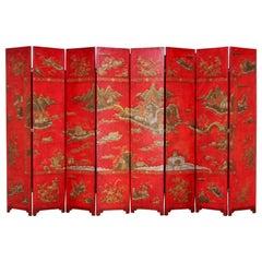Baker Furniture Lacquered Coromandel Chinoiserie Screen