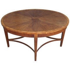Baker Furniture Laura Ashley Inlaid Mahogany Burl Wood Coffee Table Sheraton