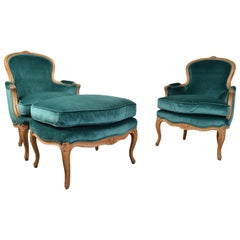 Baker Furniture Louis XV Style Bergère Lounge Chairs with Ottoman in Velvet
