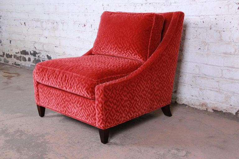 Mid-Century Modern Baker Furniture Lounge Chair in Red Velvet Upholstery