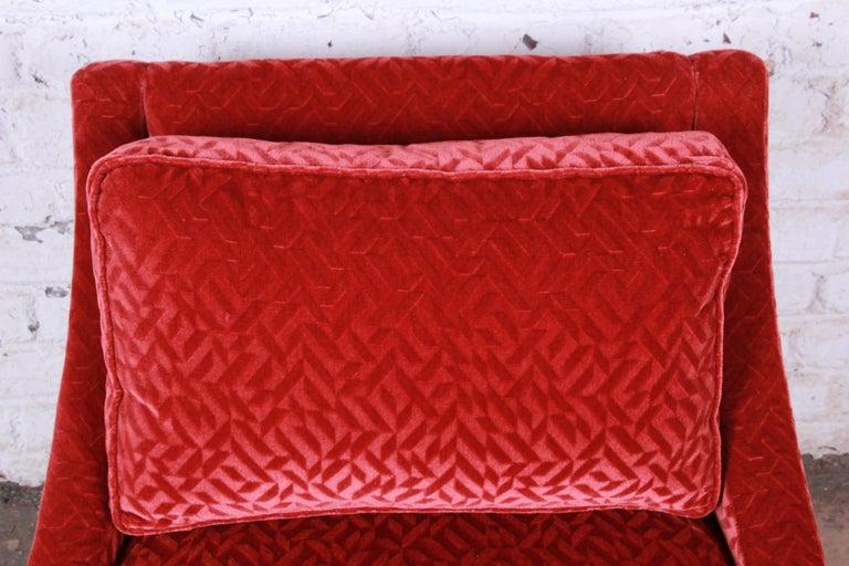 American Baker Furniture Lounge Chair in Red Velvet Upholstery