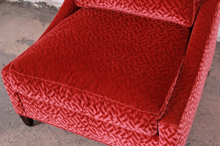 Baker Furniture Lounge Chair in Red Velvet Upholstery In Good Condition In South Bend, IN