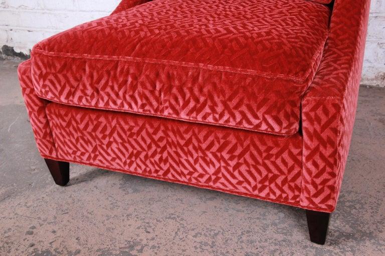 Contemporary Baker Furniture Lounge Chair in Red Velvet Upholstery