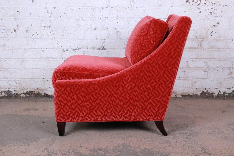 Baker Furniture Lounge Chair in Red Velvet Upholstery 1