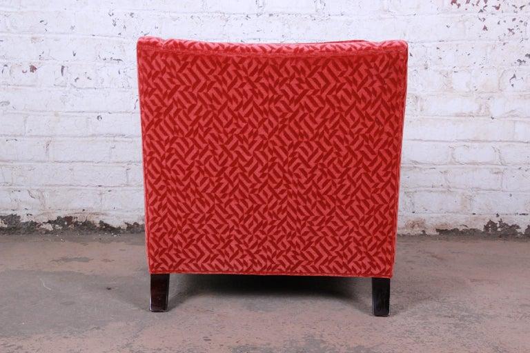 Baker Furniture Lounge Chair in Red Velvet Upholstery 2
