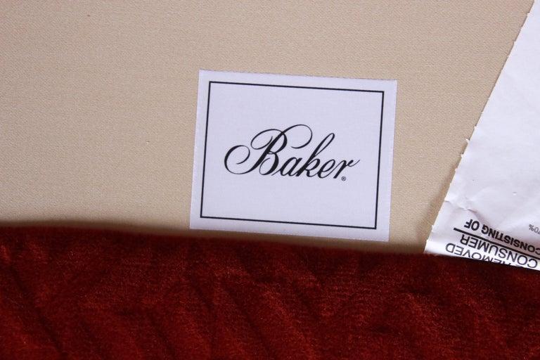 Baker Furniture Lounge Chair in Red Velvet Upholstery 3