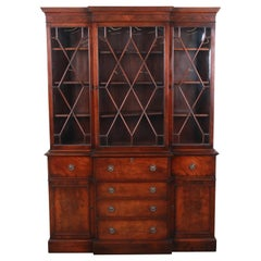 Baker Furniture Mahogany Breakfront Bookcase Cabinet with Secretary Desk, 1940s