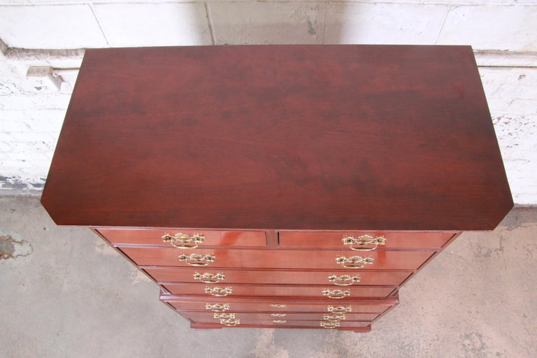 Baker Furniture Mahogany Chippendale Style Highboy Dresser For Sale 4