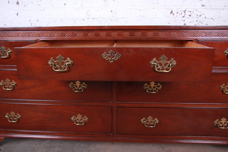 Baker Furniture Mahogany Chippendale Style Long Dresser For Sale 4