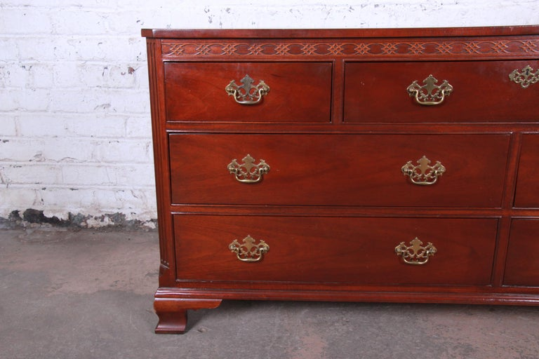 Baker Furniture Mahogany Chippendale Style Long Dresser In Good Condition For Sale In South Bend, IN