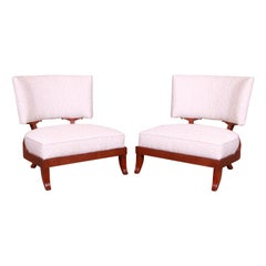 Baker Furniture Mahogany Curved Back Upholstered Lounge Chairs, Pair