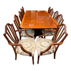 Baker Furniture Mahogany Dining Room Set Table and Ten Chairs